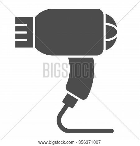 Hair Dryer Solid Icon. Electric Blow-dryer, Drying With Hot Wind Symbol, Glyph Style Pictogram On Wh