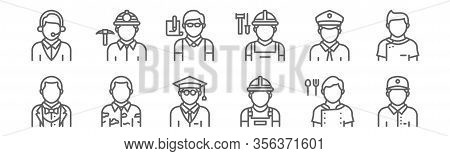 Set Of 12 Profession Avatar Icons. Outline Thin Line Icons Such As Delivery Courier, Construction Wo