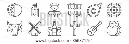 Set Of 12 Tipical Spanish Icons. Outline Thin Line Icons Such As Castanets, Religion, Windmill, Wine