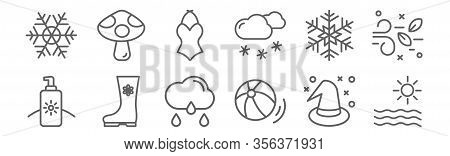 Set Of 12 Seasons Icons. Outline Thin Line Icons Such As Sun, Beach Ball, Boots, Snowflake, Swimsuit