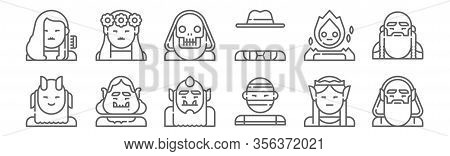 Set Of 12 Fantastic Characters Icons. Outline Thin Line Icons Such As Wizard, Mummy, Ogre, Spirit, L