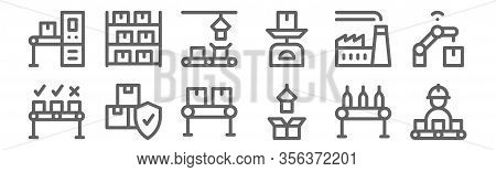 Set Of 12 Mass Producction Icons. Outline Thin Line Icons Such As Conveyor, Package, Packages, Facto