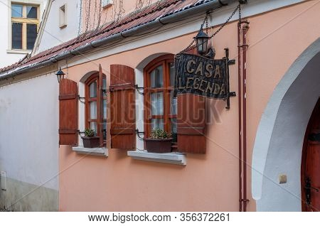 Sighisoara, Romania - March 23, 2013: Detail Of The Windows Of Casa Legenda Restaurant