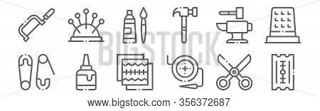 Set Of 12 Diy Crafts Icons. Outline Thin Line Icons Such As Razor, Button, Glue, Anvil, Oil Paint, N