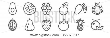 Set Of 12 Fruit Icons. Outline Thin Line Icons Such As Cantaloupe, Mangosteen, Rose Apple, Mango, Gr