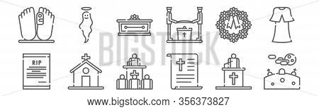 Set Of 12 Funeral Icons. Outline Thin Line Icons Such As Graveyard, Speech, Church, Wreath, Coffin,