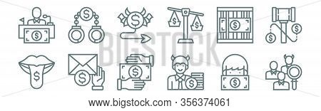 Set Of 12 Corruption Elements Icons. Outline Thin Line Icons Such As Identify, Cheater, Envelope, Ar