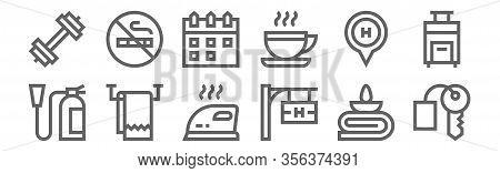 Set Of 12 Hotel Icons. Outline Thin Line Icons Such As Hotel Key, Hotel, Towel, Calendar, No Smoking