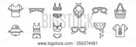 Set Of 12 Summer Clothing Icons. Outline Thin Line Icons Such As Shirt, Sunglasses, Clothes, Sunglas