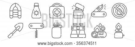 Set Of 12 Summer Camp Icons. Outline Thin Line Icons Such As Camping Gas, Binoculars, Corkscrew, Swi