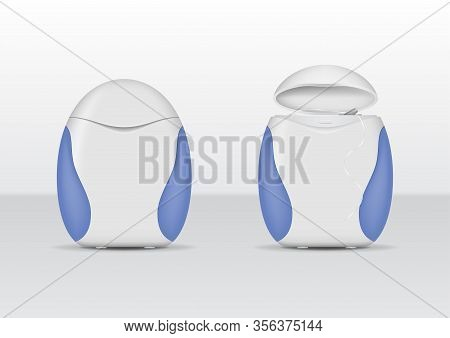 Realistic Detailed 3d White Blank Dental Floss Container Empty Template Mockup Set Hygiene Object. V