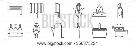 Set Of 12 Barbecue Icons. Outline Thin Line Icons Such As Bbq, Fork, Fish, Bonfire, Cleaver, Grill