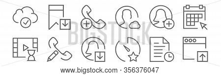 Set Of 12 Interaction Set Icons. Outline Thin Line Icons Such As Browser, Stopwatch, Phone Call, Use