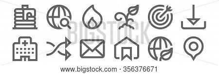 Set Of 12 Miscellaneous Icons. Outline Thin Line Icons Such As Pin, Bookmark, Shuffle, Target, Fire,