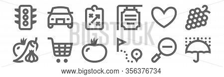 Set Of 12 Miscellaneous Icons. Outline Thin Line Icons Such As Umbrella, Route, Shopping Cart, Heart