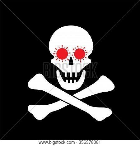 Skull And Bones With Coronavirus Signs. Coronavirus 2019-ncov Icon With Jolly Roger Symbol. Red Coro