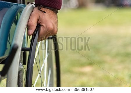 Hand Of A Paralyzed Adult Man In A Wheelchair Wearing A Dark Red Sweatshirt In A Park
