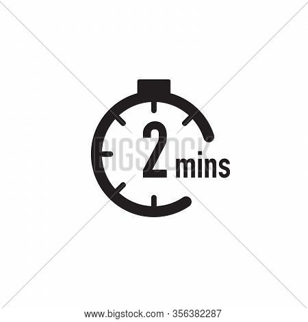 2 Minutes Timer, Stopwatch Or Countdown Icon. Time Measure. Chronometr Icon. Stock Vector Illustrati