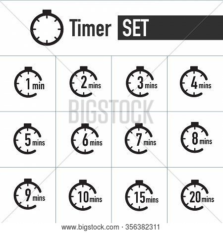 Clock , Timer Icon Set Form 1 Minute To 20 Minutes. Stock Vector Illustration Isolated On White Back