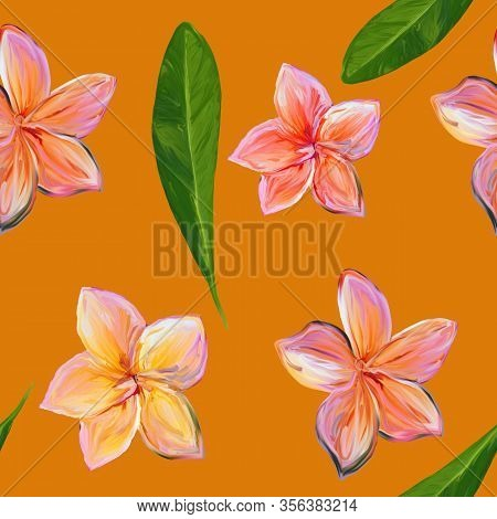 Frangipani Plumeria Tropical Flowers. Seamless Pattern Background. Tropical Pink And Yellow Floral S