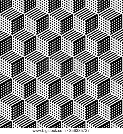 Seamless Geometric Hexagons Op Art Pattern 3d Illusion. Op Art Vector Illustration.