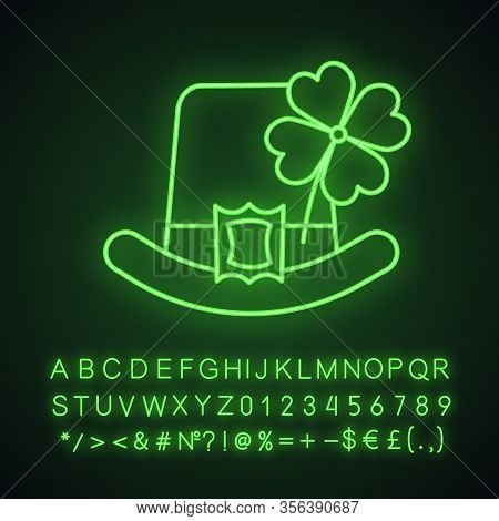 Saint Patricks Day Neon Light Icon. March 17th. Leprechaun Hat With Four Leaf Clover. Glowing Sign W