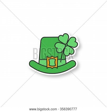 Saint Patricks Day Patch. March 17th. Leprechaun Hat With Four Leaf Clover. Color Sticker. Vector Is