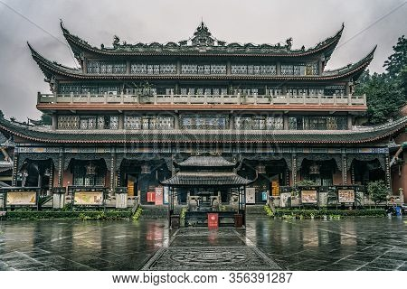 Chongqing, China - Dec 20, 2019: Traditional Chinese Buddah Temple In Overcast Time