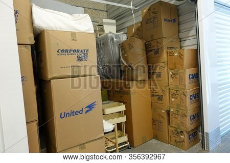 Orlando, Fl/usa-3/14/20: An Interior Of A Storage Space Unit Displaying The Boxes At Extra Space Sto