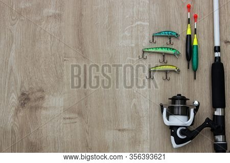 Wooden Bridge With Spinner Lures And Fishing Bytes. Place Empty Can Be Used For Text.