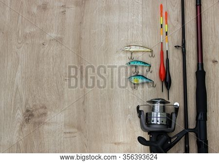 Wooden Bridge In Morning With Spinner Lures And Fishing Bytes. Place Empty Can Be Used For Text.