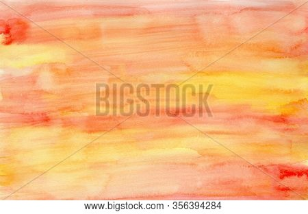 Bright Expressive Striped Orange, Yellow And Red Gradient Wet Watercolor Texture Background, Wash Te