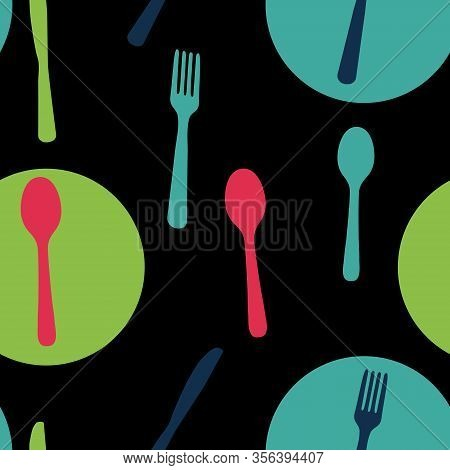 Abstract Seamless Pattern With Tableware Forks Spoons And Knives. Vector Illustration