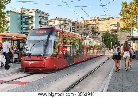 Venice, Italy - September 8, 2018: This Is A Tram Line That Connects The Mainland With The Island.