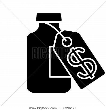 Vaccine Price Glyph Icon. Silhouette Symbol. Medical Vial With Cost Label. Pharmacy. Medications, Dr