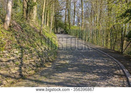 Image Of The Famous Cobblestone Road Muur Van Geraardsbergen Located In Belgium. On This Road Every