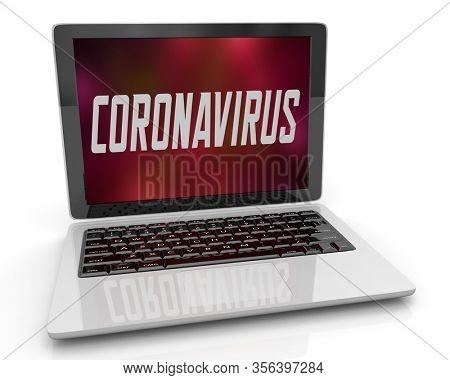 Coronavirus COVID-19 Laptop Computer Network Outbreak Pandemic 3d Illustration