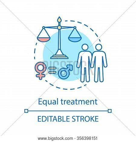Equal Treatment Concept Icon. Employee Rights Protection Idea Thin Line Illustration. Sexual Equalit