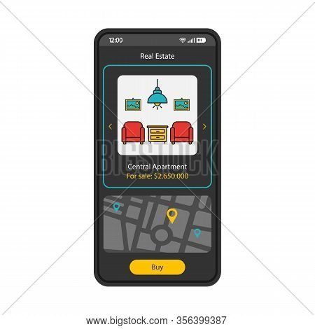 Real Estate App Smartphone Interface Vector Template. Apartment Search Mobile Page Black Design Layo
