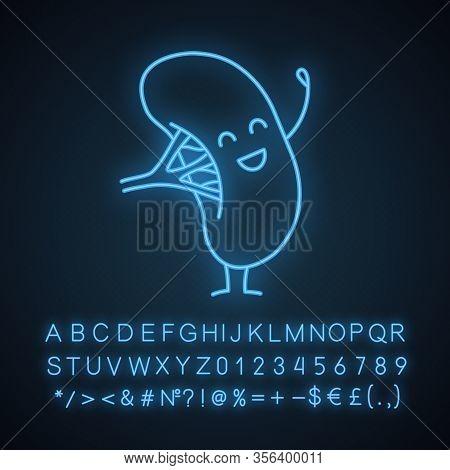 Happy Human Spleen Emoji Neon Light Icon. Lymphatic System Organ Character. Healthy Immune System. G