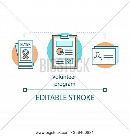 Volunteer Abroad Program Concept Icon. Aids, Cancer Service Organization Idea Thin Line Illustration