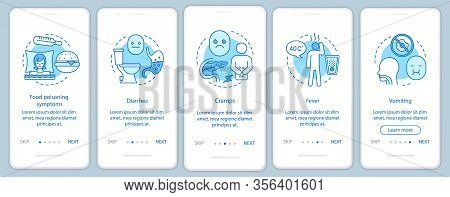 Food Poisoning Symptom Onboarding Mobile App Page Screen Vector Template. Foodborne Illness. Diarrhe