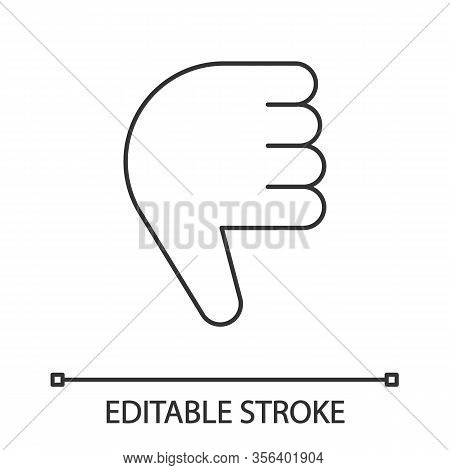 Thumbs Down Emoji Linear Icon. Thin Line Illustration. Disapproval, Dislike Hand Gesture. No, Bad Ge