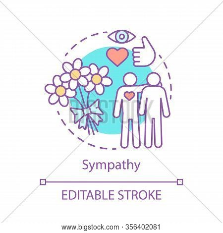Sympathy Concept Icon. Family Couple Idea Thin Line Illustration. Homosexuality. Romance Gift. Relat