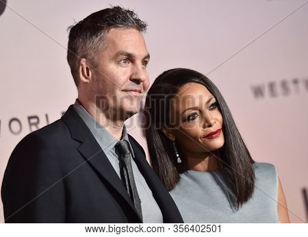 LOS ANGELES - MAR 05:  Thandie Newton and Ol Parker arrives for 'Westworld' Season 3 Premiere on March 05, 2020 in Hollywood, CA