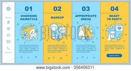 Getting Ready For Party Onboarding Mobile Web Pages Vector Template. Responsive Smartphone Interface