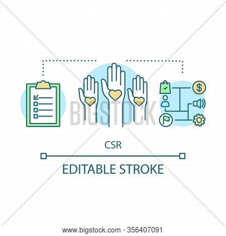 Csr Concept Icon. Corporate Social Responsibility Idea Thin Line Illustration. Business, Investment.