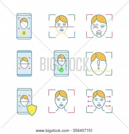 Facial Recognition Color Icons Set. Face Lock, Banking, Approved, Protection Smartphone Apps, Scanni