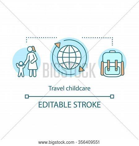 Travel Childcare Concept Icon. Au Pair, International Nannies Idea Thin Line Illustration. Travel Ba