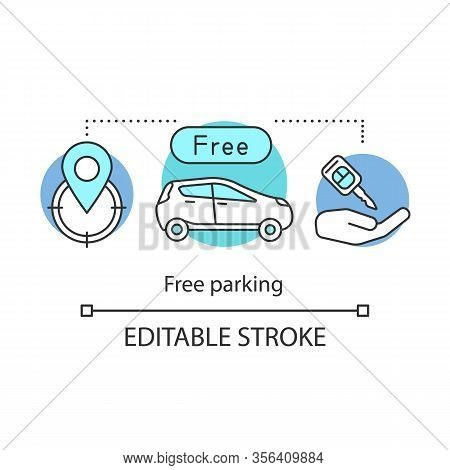 Free Hotel Parking Concept Icon. Valet Parking, Security Area, Rent Car. Additional Service For Gues